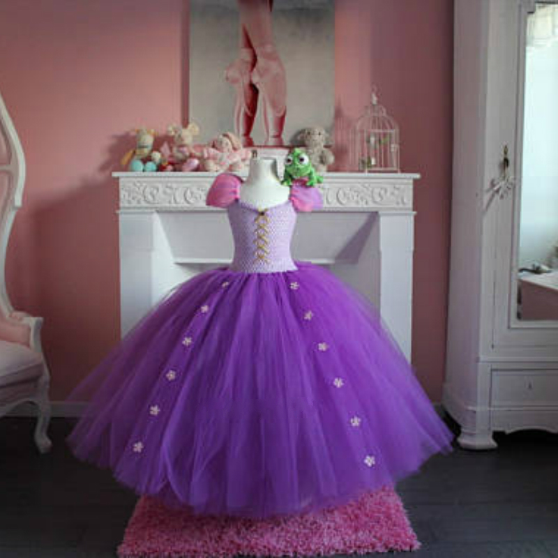 POSH DREAM Princess Inspired Rapunzel Dresses for Kids Girls Purple Pink Rapunzel Princess Kids Girl Clothes Cosplay Party Dress ariel inspired princess girls dress little mermaid inspired birthday party dress for kids girl purple girls ball gown