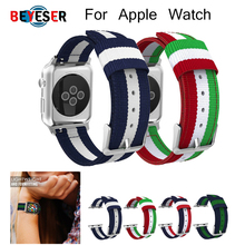 Hot Sell Nylon Watchband for Apple Watch Band Series 4 3/2/1 Sport Leather Bracelet 42 mm 38 mm 44mm Strap For apple watch Band