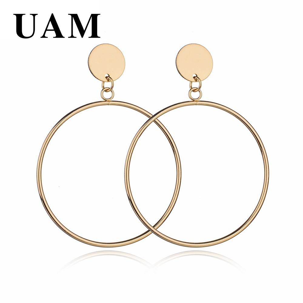 UAM Long Big Round Drop Earrings For Women Jewelry