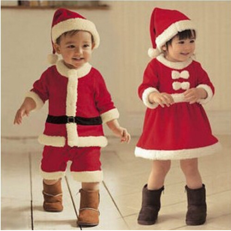 Fashion Christmas Baby Boy Girl Clothing Baby Suits Children Clothing Santa Newborn boy Rompers girl dress Flannel Baby Set
