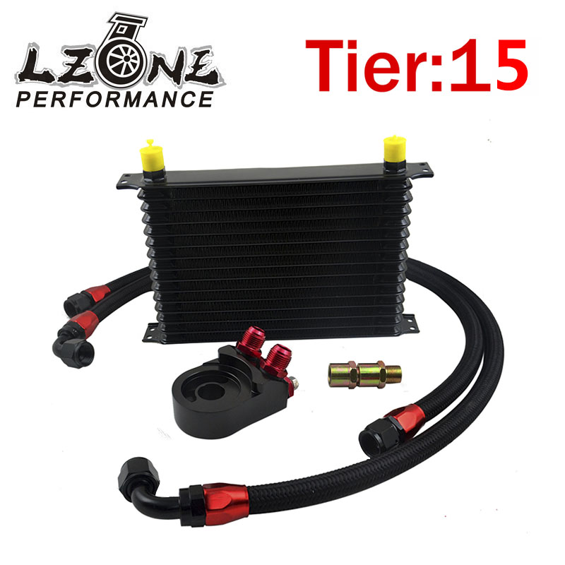 ФОТО LZONE RACING- Universal 15 ROWS Trust type OIL COOLER+AN10 Oil Filter Cooler Sandwich Plate Adapter+2PCS NYLON BRAIDED HOSE