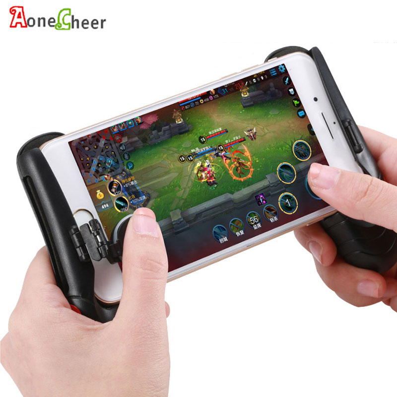 2in1 Mobile Phone Game Hand Grip Gamepad Mobile Gaming Shooter Rules of Survival/ Knives out Smart Phone Game Fire Aim Key PUBG