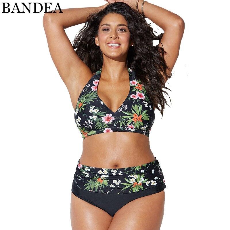 BANDEA Stampa Floreale Più Il Formato Del Bikini A Fascia Set Costumi Da Bagno per le donne Costume Da Bagno A Vita Alta Costume Da Bagno del Vestito di bagno Push Up Biquinis