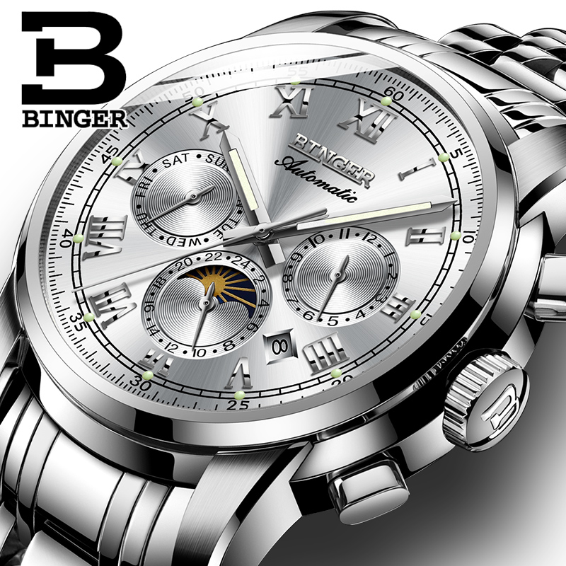 Sapphire Clock Waterproof Relogio Masculino Switzerland Automatic Mechanical Watch Men Binger Luxury Brand Mens Watches B1178-4
