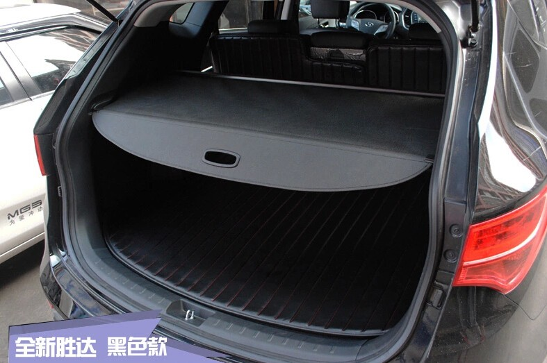 High Quality For HYUNDAI Santa Fe IX45 2013 2014 Rear Trunk Security Shield Cargo Cover Black high quality stainless steel car side door body protector molding cover trim for hyundai santa fe ix45 2013 2014 2015 2016 2017