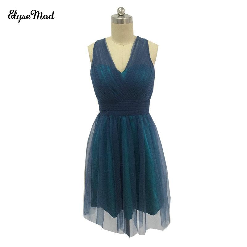 9a9f88d97ea6 Στο StyleLovely A-Line αμάνικο φόρεμα νύφης Halter Τούλι Mini Φόρεμα ...