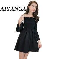 AIYANGA Dress Women Black Sexy Off Shoulder Embroidery Party Dresses 2018 Rose Applique Ruffle Elegant Bodycon Mini Dress