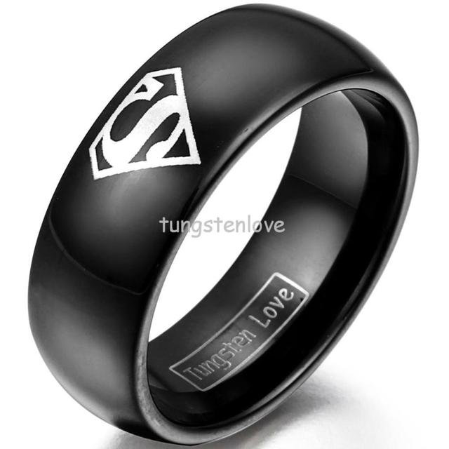 8mm Black Tungsten Carbide Ring O Promise With Laser Etched Superman