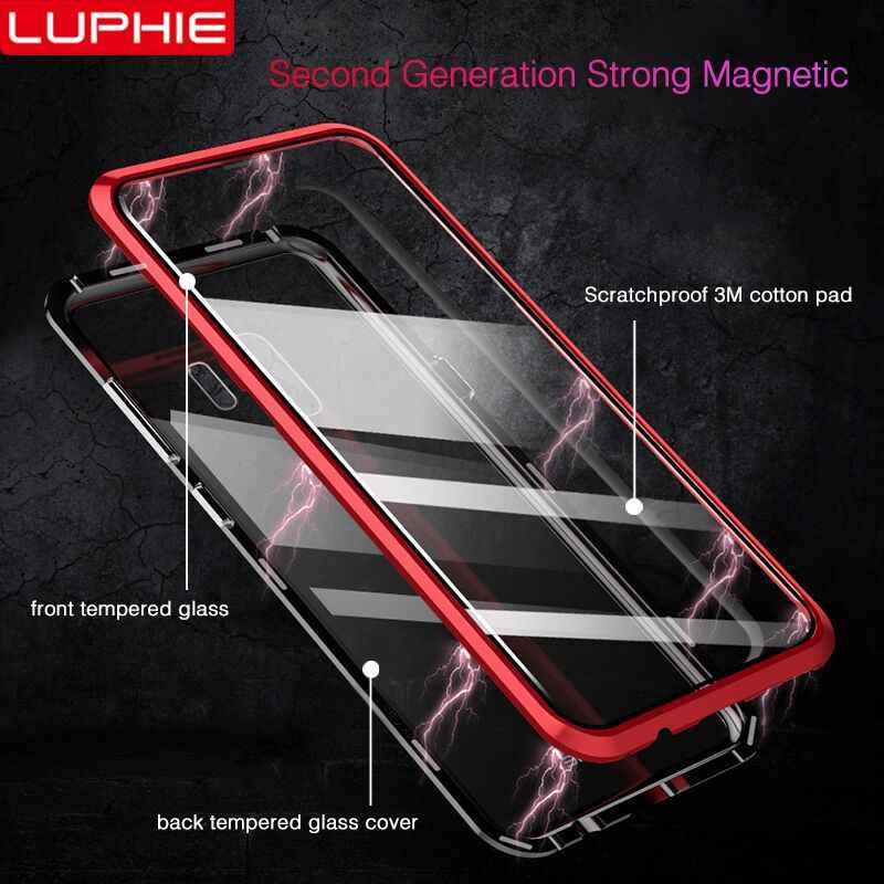 LUPHIE 360 funda magnética completa para Samsung Galaxy S9 S8 Plus Note 9 funda de cristal frontal para Samsung Note cubierta de la caja del imán 8 9