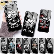 WEBBEDEPP Pit Bull Lovely Pet Dog Glass Phone Case for Apple iPhone 11 Pro X XS Max 6 6S 7 8 Plus 5 5S SE
