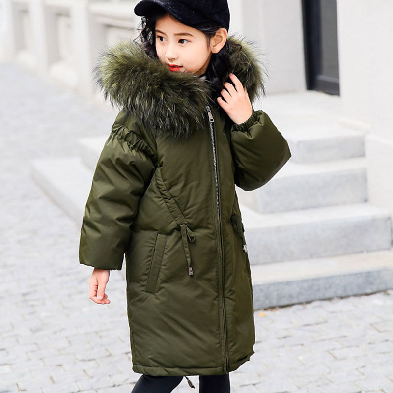 big winter jackets girls black green brown down children coats and jackets fur hooded long warm thick duck down kids outerwear шапка чулок tiara freespirit шапки и береты бини