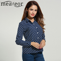 Meaneor Women S Long Sleeve Polka Dot Casual Loose Button Down Shirt