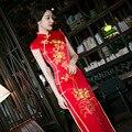 Las Mujeres de color rojo Chino Tradicional Vestido de Novia de Color Rojo Vestido de Novia Ropa Nacional Chino Qipao Largo Cheongsam Femenino Vestido de Fiesta 18