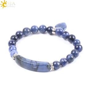 Image 2 - CSJA หินธรรมชาติ Sodalite สร้อยข้อมือผู้หญิงผู้ชายรักหัวใจสีฟ้าสีขาว Dot ลูกปัด Healing พุทธกำไลข้อมือ F109