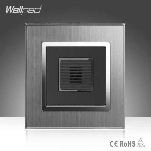 Sound Light Sensor Switch Wallpad Hotel 110-220V Silver Satin Metal EU UK Voice Sound Light Sensor Corridor Stairs Wall Switch newest 220v sound light control switch time delay 45 seconds 86 type wall switch 5 10m sound light control sensor