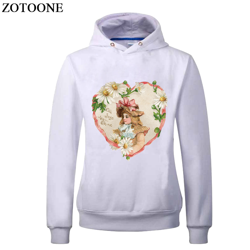 ZOTOONE Heat Transfers For Clothes Flower Angel Patch DIY T shirt Iron On Transfer Letters Patch Heat Press Applique Decoration in Patches from Home Garden