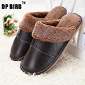 New Arrival Fashion Winter Leather Home Slippers Men Indoor\ Floor Outdoor Slippers Warm Cotton Plush Non-slip Flat Shoes