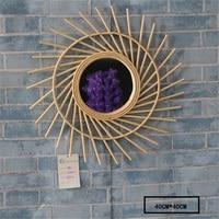 French 50s bamboo mirror boho sunburst vanity mirror mid century wall hanging starburst mirror natural home decor