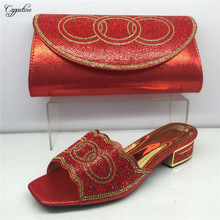 Capputine New Summer Ladies Shoes And Purse Set Italian Rhinestone Low Heel Shoes And Bag Set For Evening Party BL595C