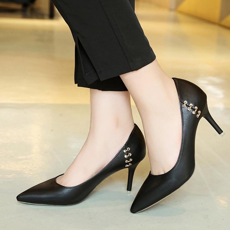 Damenpumps Frühling Frauen Schuhe High Heels Kleid Schuhe Spitz Pumpen Metall Frau Schuhe Faux Wildleder Damen Party Schuhe Zapatos Mujer N6988 Schuhe