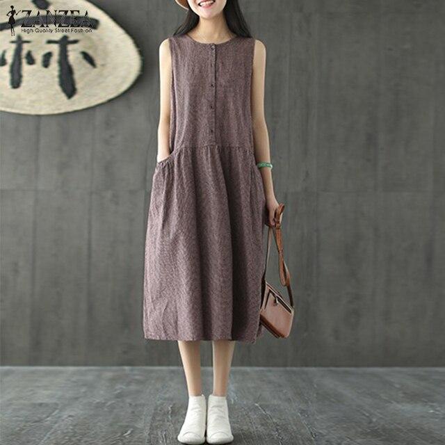 7d8010ebaa8 2018 ZANZEA Plus Size Summer Women Sleeveless Plaid O-neck Dress Casual  Pleated Cotton Linen Tank Dress Beach Party Vestido Robe