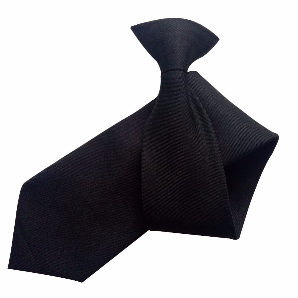 New --Matte Black Plain Clip On Tie Security Doorman Bouncer Funeral Wedding Worker wear Free shipping image