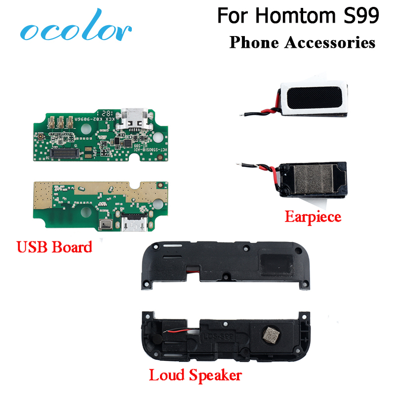 Ocolor For Homtom S99 Earpiece USB Board For Homtom S99 Loud Speaker New Buzzer Ringer USB Plug Charge Board High Quality
