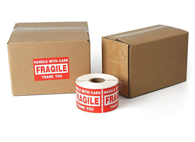 Купить с кэшбэком 500pcs 2*3inch Fragile Stickers handle with care Warning Packing/Shipping Labels stickers THANK YOU Permanent Adhesive sticker