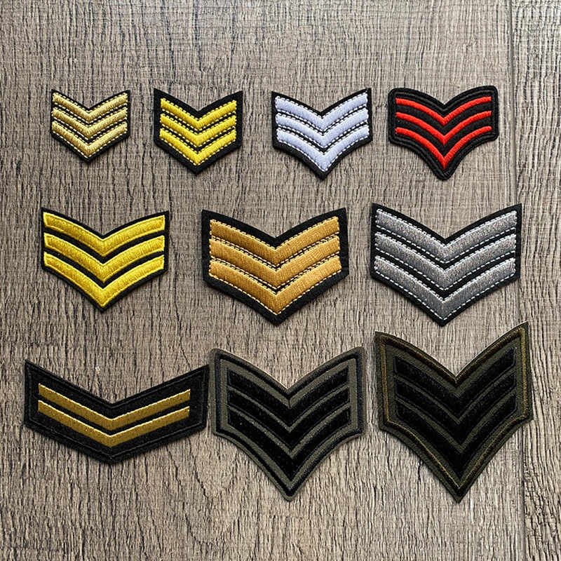 Wholesale Gold Silver Red Military Rank Embroidery Patches for Clothing Tactical Morale Army Logo Iron on Clothes Badge Applique