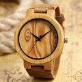 Moda Pupolar En Línea Venta Naturaleza Original Relojes de Los Hombres Reloj de Cuarzo de Cuero Genuino de Las Mujeres De Bambú De Madera hechos A Mano Reloj de Regalo