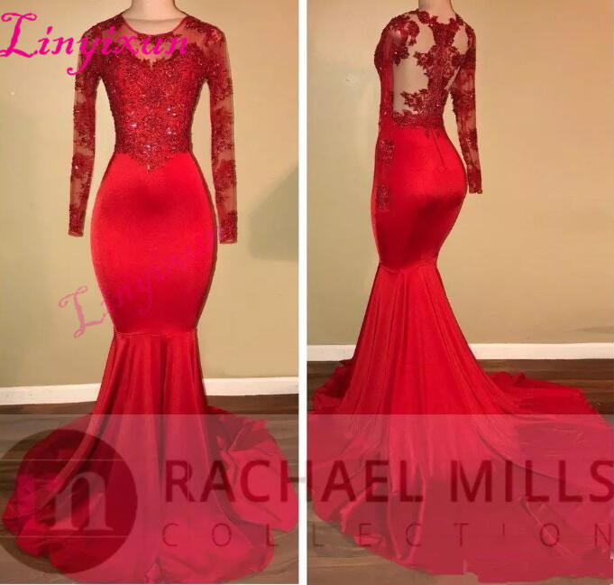 2018 Vintage Sheer Long Sleeves Red Prom Dresses Mermaid Appliqued Sequined African Black Girls Evening Gowns