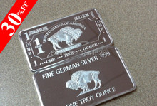 "1oz ( 1Troy ounce ) ""American Buffalo"" German Silver BULLION ART BAR with Case.20pcs/lot Free shipping"