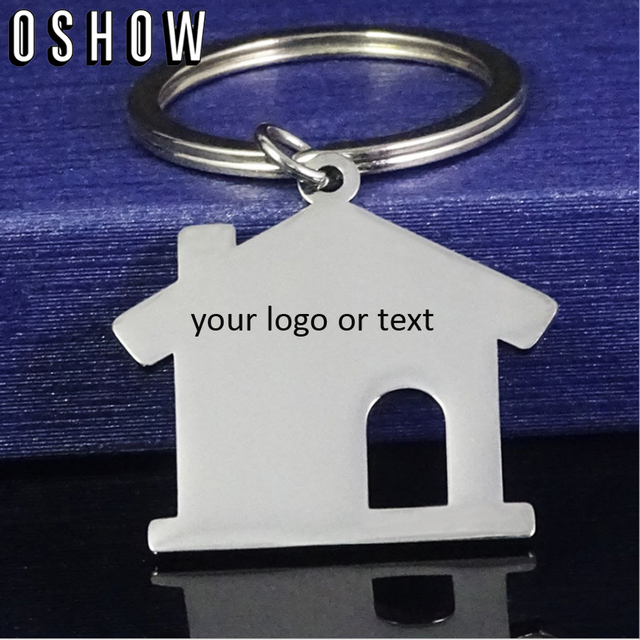 Us 16 14 5 Off Engraved Keychain Personalized Gifts For Him Or Her Custom Stainless Steel House Shape Key Chains In Key Chains From Jewelry