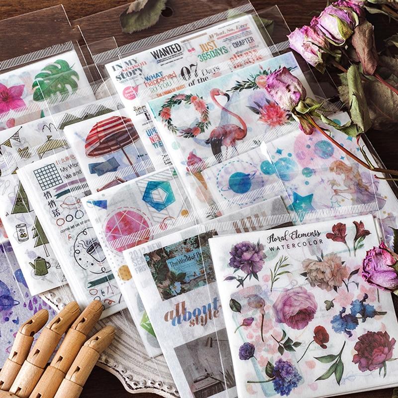 10pcs/Pack Kawaii Plant/Animal Pattern Travelling Sticker Scrapbooking Creative Diy Journal Decorative Adhesive Label Stationery