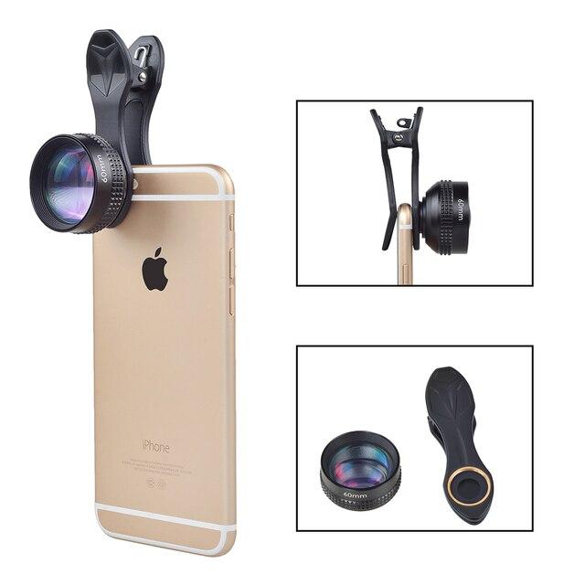 APEXELOptic Pro Объектив, 60 мм Портретный объектив 2X КАК Объектива Телескопа, без Искажений, нет DarkCircle для iPhone Xiaomi Samsung все телефоны