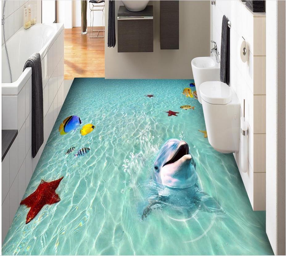 Beach Sea Water Tropical Fish Starfish Dolphin 3D Floor PVC Floor Sticker Painting Murals Modern Custom 3D Floor Mural