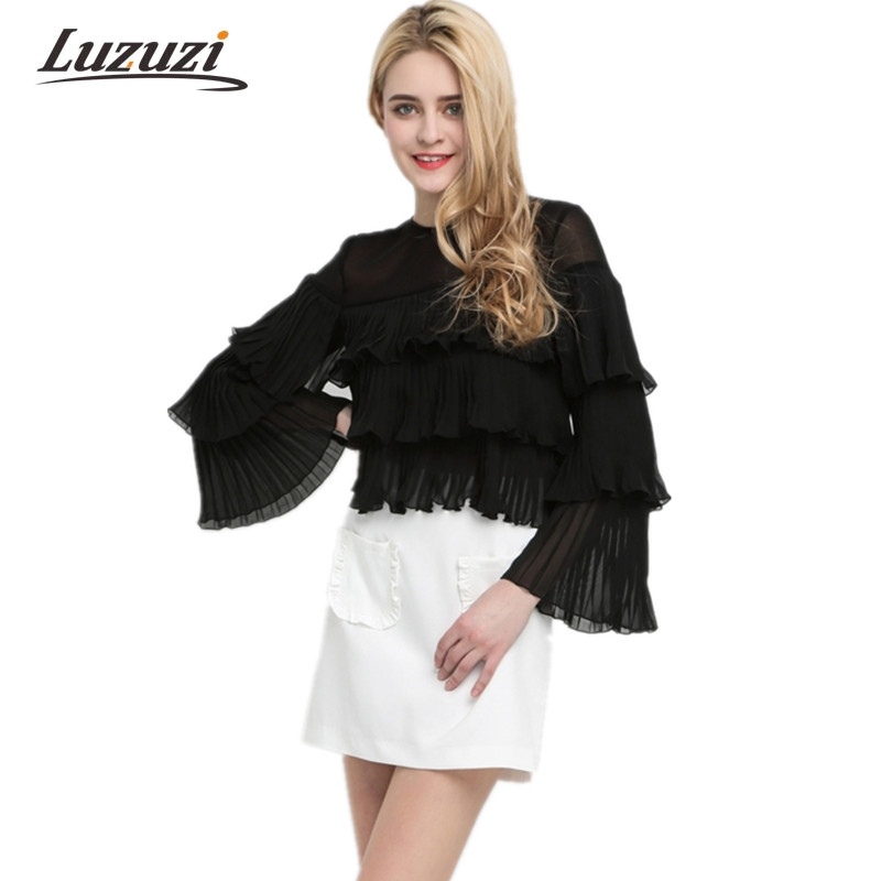 Women Solid Black Chiffon Blouse Fashion Ruffles Pleated Layers Thin Pullover Shirts Long Butterfly Sleeve Tops Female Tee 4R424 Chemisier