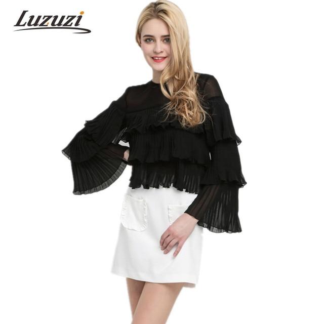 23daf15cce87 Femmes Solide Noir Chemisier En Mousseline De Mode Ruches Plissée Couches  Mince Pull Chemises Longue Papillon