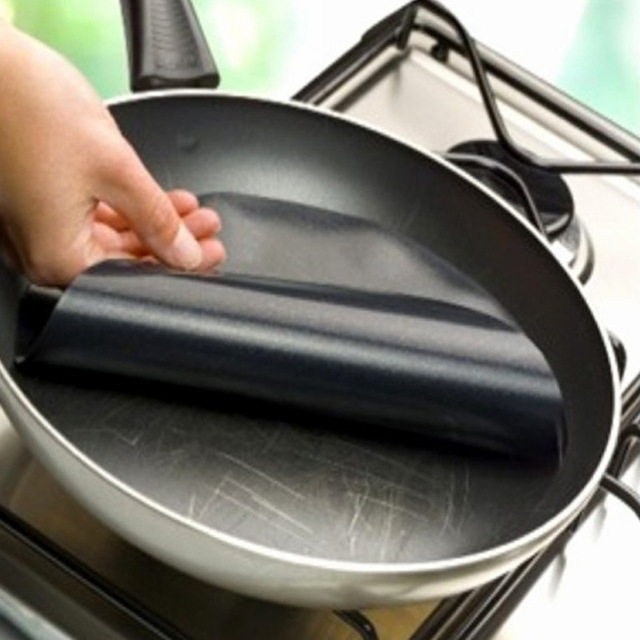 2 unids Ronda Estera de Lámina de Revestimiento Sartén de Teflón antiadherente Wok De Cocina Hoja Pad Esteras Para Hornear de Cocina BBQ