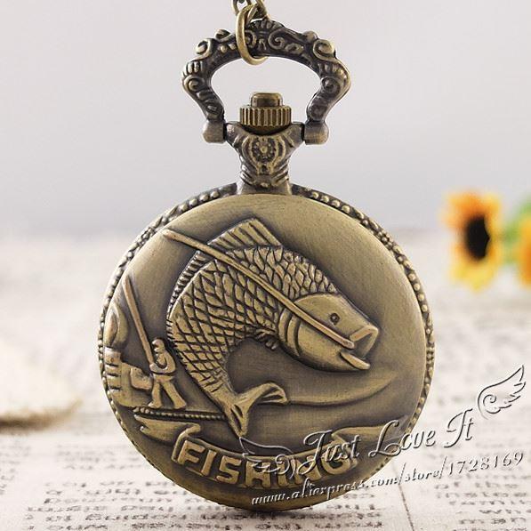 2018 Bronze Fishing Angling Quartz Pocket Watch Necklace Pendant Unisex Gift 5pcs/lot