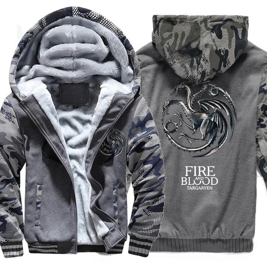 Image 4 - FIRE AND BLOOD Print Hoodies For Men 2019 Autumn Winter  Streetwear Mens Sweatshirts Game Of Thrones Hoody Targaryen Harajuku  TopHoodies