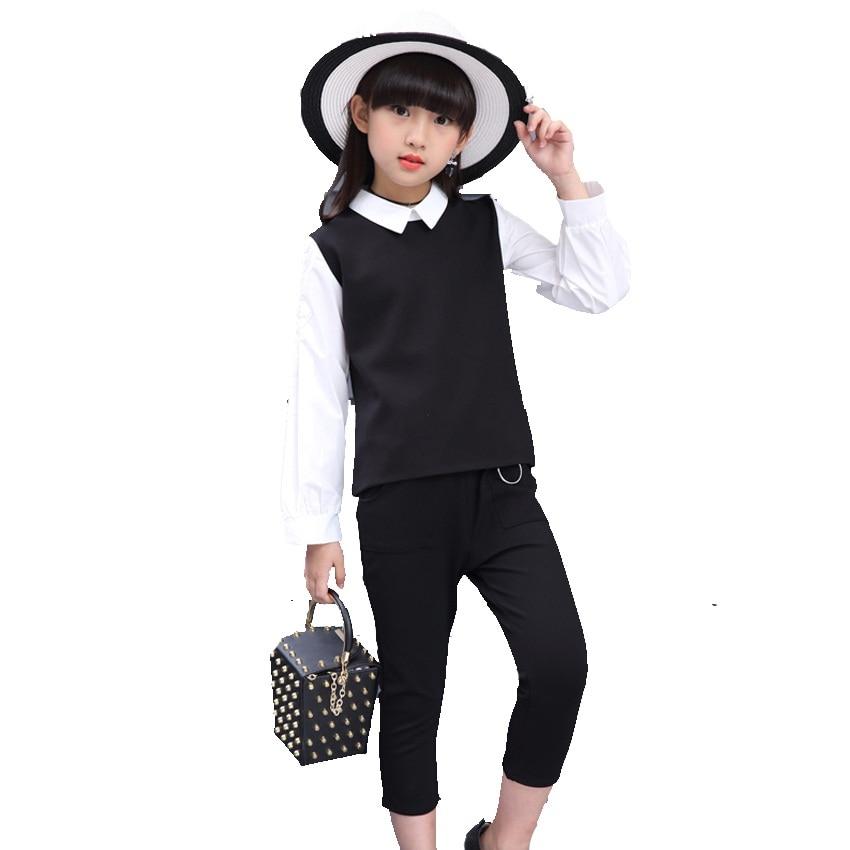 Dívčí oděvy Sady Bavlněné Patchworkové halenky a tužkové - Dětské oblečení
