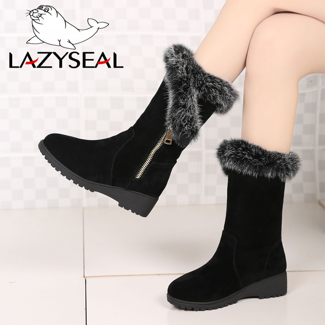 4571e8d9cd5fa US $23.29 20% OFF|LazySeal Big Size Winter Natural Real Big Rabbit Fur Cow  Suede Zip Hair Snow Boots Women Plus Short Lady Boots Female Fur Boot-in ...
