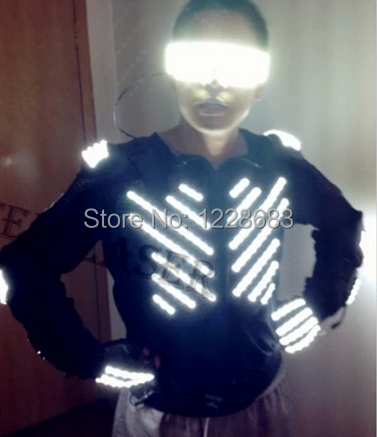 Free Shipping New Arrival Fashion Light Up Suit With Coat Glove Glasses For Led Clothing Led Robot Costume