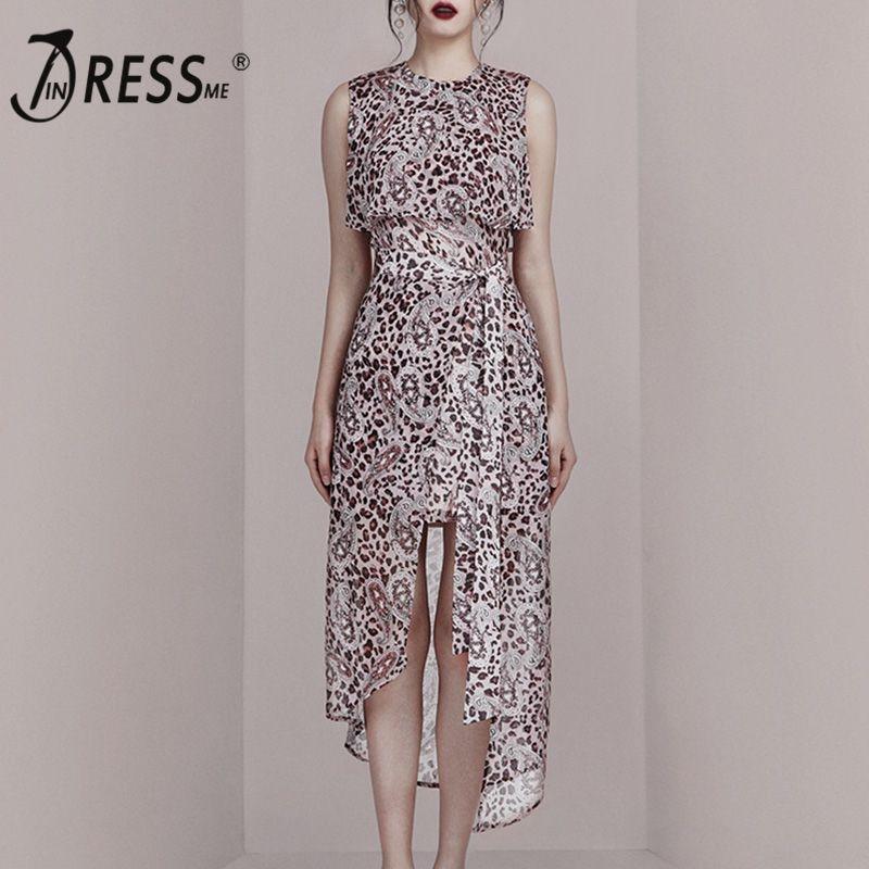 INDRESSME 2019 New Fashion Style Elegant Women Dress Sleeveless Leopard Print Irregular Hem