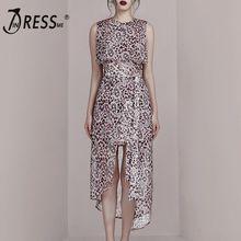 INDRESSME 2019 New Fashion Style Elegant Women Dress Sleeveless Leopard Print Irregular Hem Dress random stars print dip hem cocoon dress