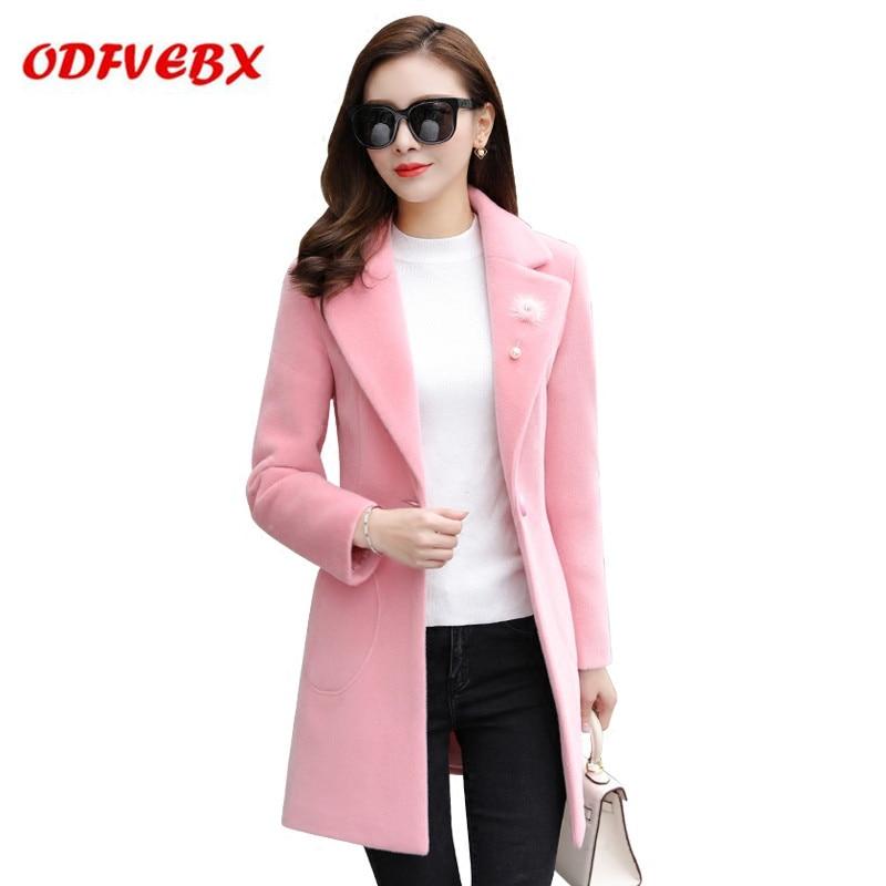 89ab3030d95cf Manteau pink Nouveau Femme Hiver Moyen Femmes Laine Mince Et 2019 Vêtements  Parker D hiver De Grayish Vestes Long Filles ...