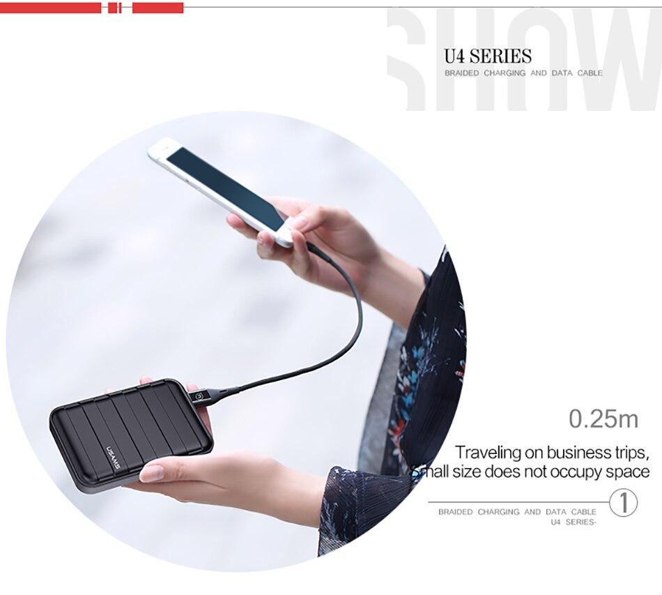 USAMS USB кабель для iPhone X 8 7 6 6 S плюс 5 5C 5S SE быстрое зарядное  светодиодный ное
