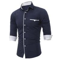 Men Shirt Brand 2017 Male High Quality Long Sleeve Shirts Casual Hit Color Slim Fit Black
