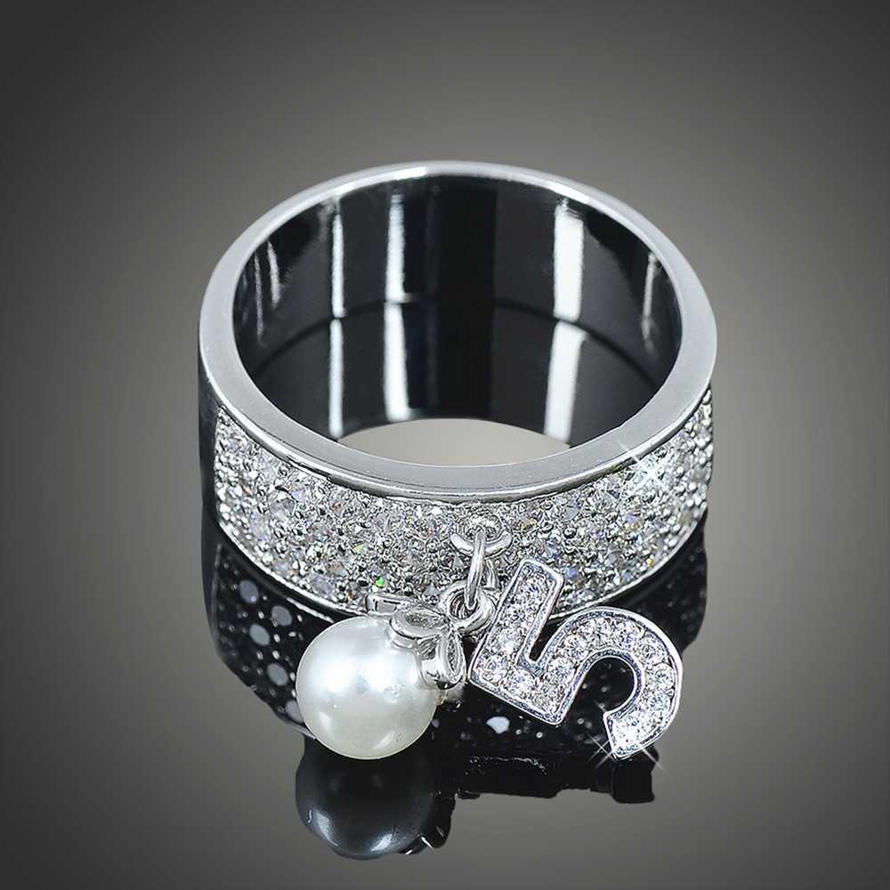 Cute 5 Number and Little Imitation Pearl Charms silver color & Rose Gold Color Rings for Women Fashion Party Bague Femme J02341